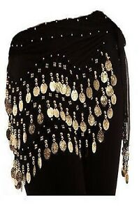New women 3 rows belly dance hip scarf wrap belt dancer skirt costume p&p *Belly