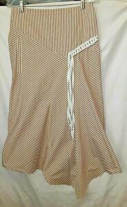 TIBI Taupe Brown Stripe Braid Trim Asymmetrical Skirt, 4