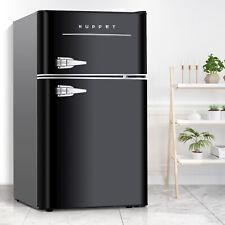 3.2 Cu.Ft Retro Mini Fridge 2-Door Compact Mini Refrigerator Home Office Black