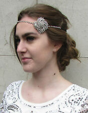 Silver 1920s Diamante Rhinestone Headpiece Vintage Headband Flapper Bridal O50