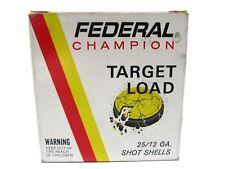 Vintage Federal Champion Target Load Paper Shot Shells Empty Box 12 Ga 7 1/2