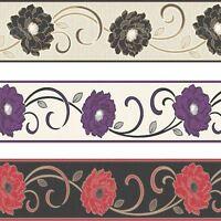 Florentina Wallpaper Border Textured Vinyl Fine Decor Flowers Floral Luxury