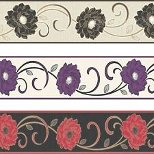 Florentina Wallpaper Border Textured Vinyl Fine Decor Flowers Floral Luxury