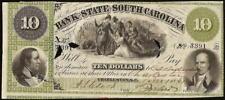 LARGE 1861 $10 CHARLESTON SOUTH CAROLINA BANK NOTE CURRENCY OLD PAPER MONEY AU
