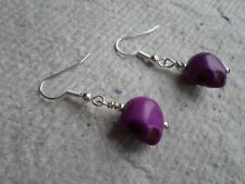 Handmade ~ Earrings ~  Violet Skull ~ Drop