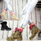 NUOVO Designer scarpe donna stivali stivaletti Foderato Pelliccia Sintetica