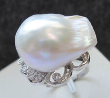 E8238 - 21mm white baroque keshi reborn Nucleated freshwater pearl ring - 925 SS