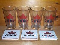 MOLSON CANADIAN 4 BEER PINT GLASSES & 20 BAR COASTERS NEW