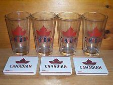 MOLSON CANADIAN 4 BEER PINT GLASSES & 30 BAR COASTERS NEW