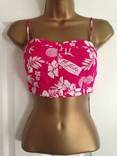 BNWT Hollister Pink White Tropical Print Strappy Crop Top Size L Large