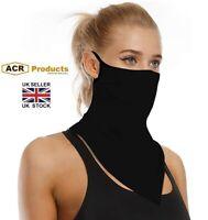 Bandana Face Cover Ear Hanging Scarf /Mask Unisex - Black
