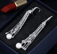 18k White Gold Fresh Water Pearl Tassel Earrings made w/ Swarovski Crystal Stone