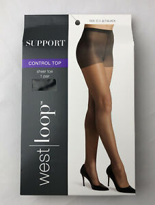 West Loop Support Control Top Sheer Toe Size C Jet Black Pantyhose