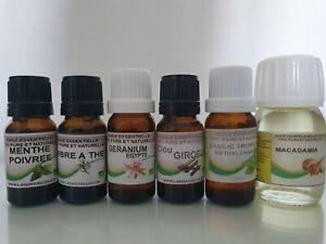 Lot de 5 Huiles essentielles  Bio 10 Ml + huile Macadamia