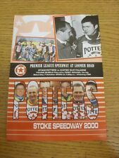07/10/2000 Speedway Programme: Young Shield Play-Offs - Stoke Potters v Exeter F