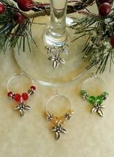 4 Mixed Color Holly Wine Glass Charms, Inexpensive Gift Idea &  Stocking Stuffer