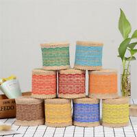 2M Natural Jute Burlap Rustic Ribbon Color Floral Lace Trim Wedding DIY Decor