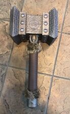 "World of warcraft Doom Hammer 1:1 Weapon with Fur Handle 100% Metal 21.5 "" Long"