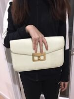 Marc By Marc Jacobs Ivory Pebbled Leather Turn Lock Clutch Bag