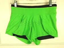 Athleta Perforated Ready Set Go Running Shorts Lined Green/Black Size: XS
