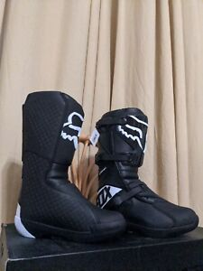Fox Racing Comp Boots Size M12 Black And White