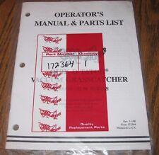Grasshopper Mower 90 93 95 96SL Vacuum Grasscatcher Operators & Parts Manual NEW