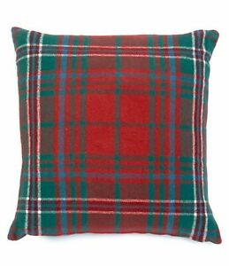 "New Southern Living Plaid Flannel Red Christmas 20"" Square Decorative Pillow"