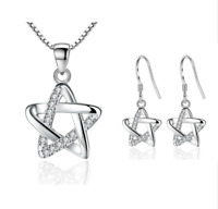 925 Sterling Silver Earrings Pendant Necklace Set Women Star Shape Jewelry
