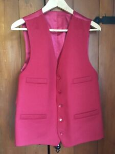 """Mens Red Wool Waistcoat 40"""" Chest"""