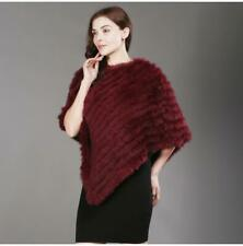 2019 Hot Sale Genuine Real Knitted Rabbit Fur Poncho Wrap Scarves Women Real Rab