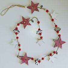 Rustique Verticale en Bois étoile de Noël Guirlande Décoration jute cloches 100 cm Bnwt