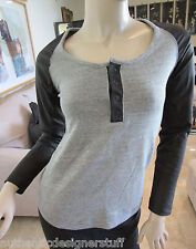 Auth MODERN SAINTS Gray Top with Leather Sleeves, Size XS