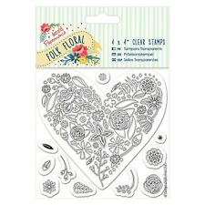 "HEART - 4""x4"" Clear Stamp Set - Folk Floral Collection - Docrafts"