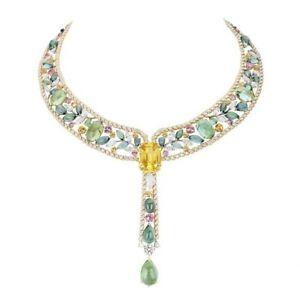 Yellow Emerald Green Leaf Vine Necklace 925 Sterling Silver Pear drop Fine Jewel