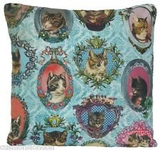 Cats Cushion Cover Blue Throw Pillow Case Printed Cotton Fabric Framed Cat B