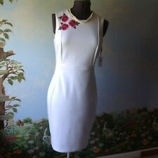 Calvin Klein Women's Sleeveless White Embroider Flowers Sheath Dress Size 10 New