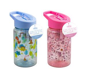 Kids Children Drinking Water Bottle Folding Straw Bottle Dinosaur Unicorn 400ml