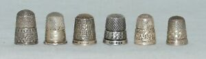 SILVER HALLMARKED THIMBLES X6 - VARIOUS YEARS & MAKERS 29.9 GRAMS