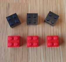LEGO Fridge / Noticeboard Magnets x 6 Red and Black - Ideal Gift AFOL