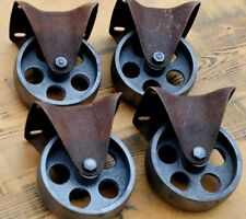 4 Gussräder 100 mm Möbel Bock-Rollen Metall Retro Vintage Industrial shabby chic