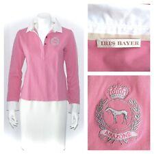 IRIS BAYER pink white cotton logo/signature equestrian polo shirt top - 44/M