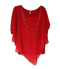 Womens Red Yummy Plus Chiffon Asymmetrical Top with Necklace Size 2X