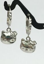 18k Solid White Gold Hello Kitty Dangle Hoop Earrings, Diamond Cut 1.85Grams