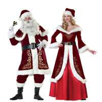 Christmas Santa Claus Cosplay Adult Costume Fancy Red Dress Xmas Party Suit