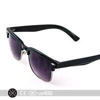 Black Gold Classic Dapper Clubmaster Half Metal Frame Fashion Sunglasses S257