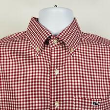 Vineyard Vines Slim Fit Tucker Shirt Red Gingham Check Mens Dress Shirt Sz Small