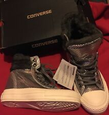 CONVERSE SILVER GREY FAUX FUR LEATHER HI HIGH TOP WEDGE HEEL BOOTS SIZE 4.5 37
