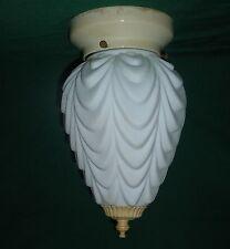 Vtg 1920's Art Deco/Nouveau Frosted Drape Teardrop Glass Ceiling Light Fixture