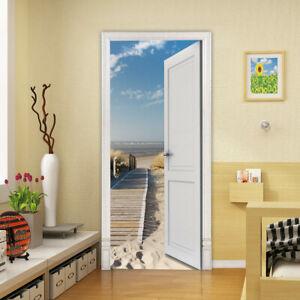 New 3D Raft Beach Trail Door Wall Sticker Decals Self Adhesive Mural Home Decor