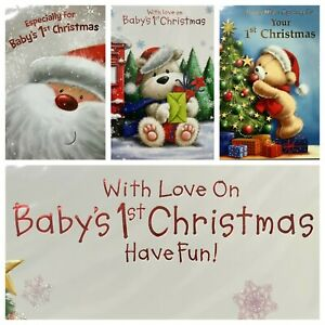 """BABY'S 1ST CHRISTMAS CARD 7.5""""X5.5"""" RRP £2 (XMAS2) BABYS FIRST CHRISTMAS"""